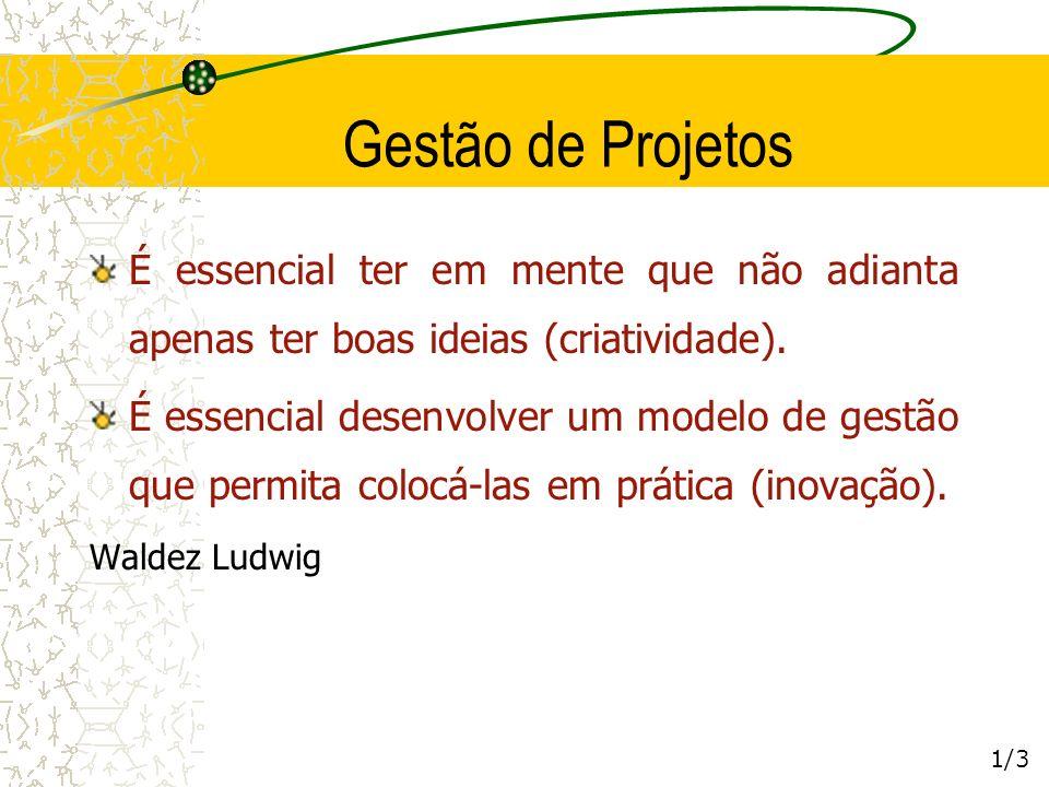 Gestão de Projetos 1/3 É essencial ter em mente que não adianta apenas ter boas ideias (criatividade). É essencial desenvolver um modelo de gestão que