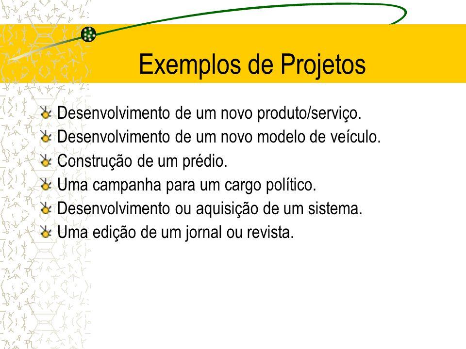 Exemplos de Projetos Desenvolvimento de um novo produto/serviço. Desenvolvimento de um novo modelo de veículo. Construção de um prédio. Uma campanha p