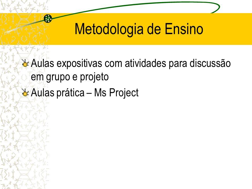 Metodologia de Ensino Aulas expositivas com atividades para discussão em grupo e projeto Aulas prática – Ms Project