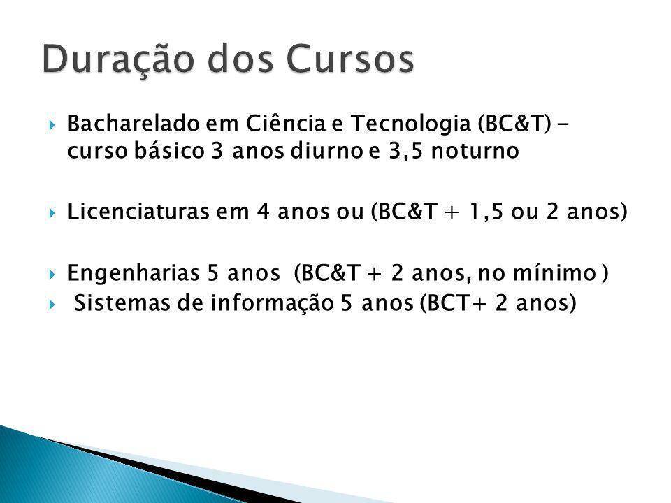 Bacharelado em Ciência e Tecnologia (BC&T) - curso básico 3 anos diurno e 3,5 noturno Licenciaturas em 4 anos ou (BC&T + 1,5 ou 2 anos) Engenharias 5