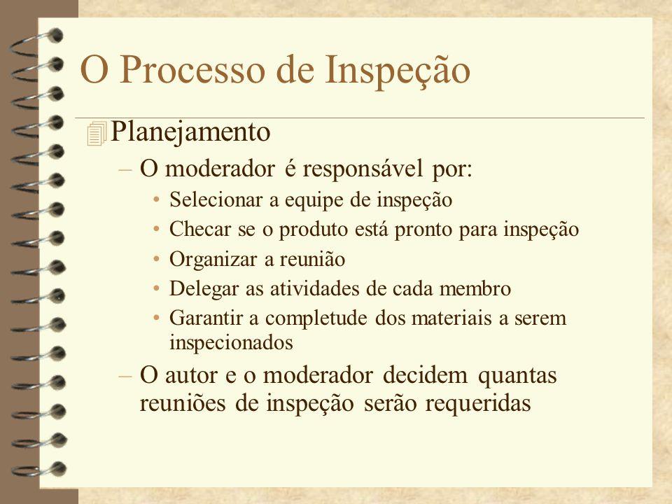 O Processo de Inspeção 4 Visão Geral –O autor apresenta as principais características do produto a ser inspecionado –É uma etapa opcional e depende da necessidade identificada pelo moderador