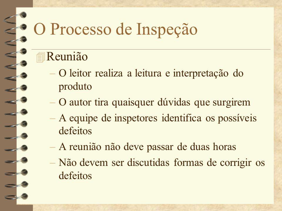 O Processo de Inspeção 4 Re-Trabalho –O autor corrige os defeitos identificados na reunião Defeitos considerados mais relevantes devem ser corrigidos primeiro