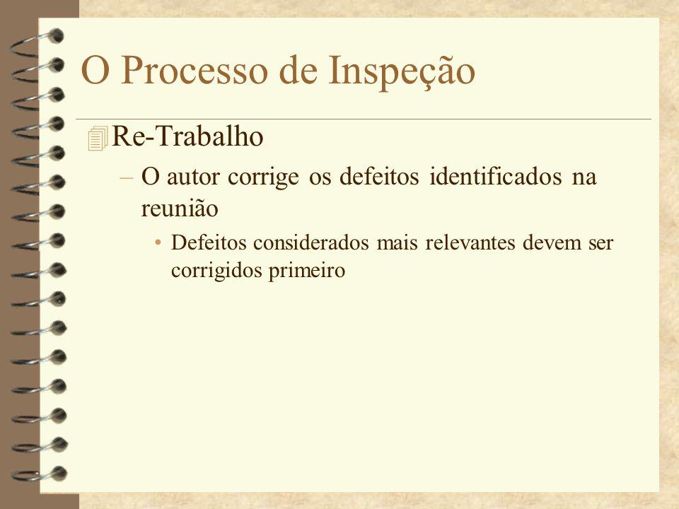 O Processo de Inspeção 4 Acompanhamento –O moderador: Analisa o material corrigido pelos autores Verifica se os defeitos foram corrigidos com sucesso Decide se uma nova inspeção é necessária