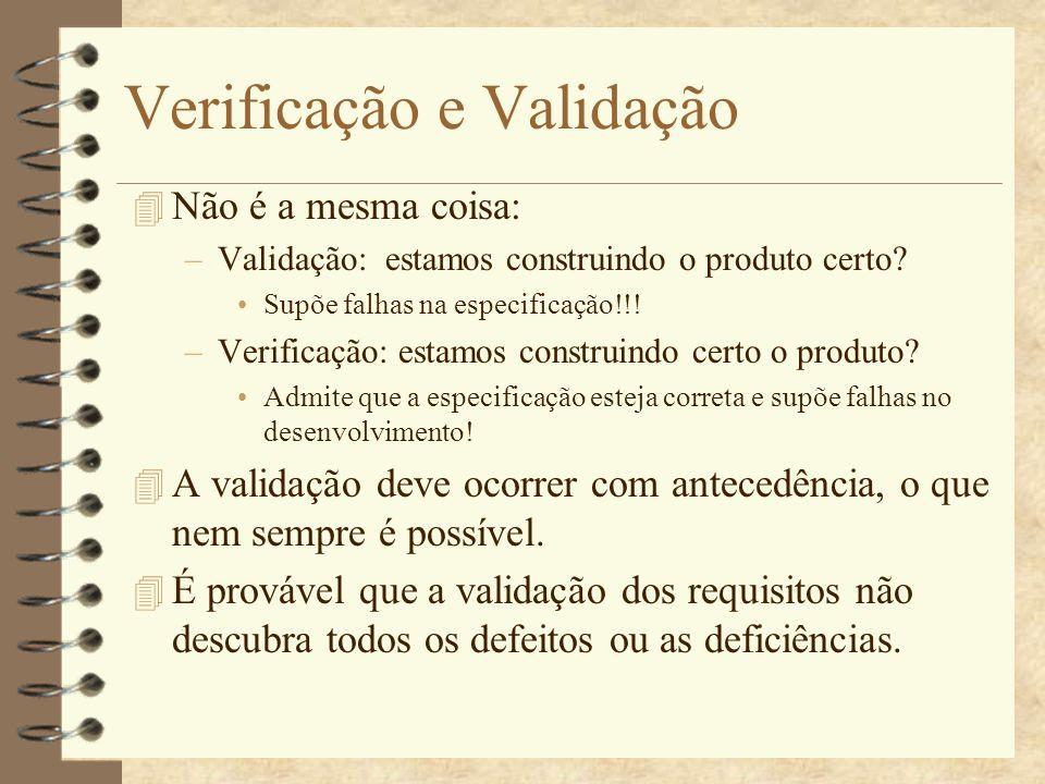 V&V 4 Existem duas técnicas: Inspeção de Software Testes de Software 4 Inspeções de software analisam e verificam as representações do sistema, tais como: –Documento de requisitos –Diagramas de projeto –Código-fonte do programa São aplicadas em todos os estágios do processo.