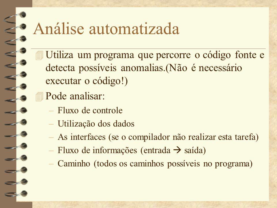 Análise automatizada 4 O Linux tem o Lint para a linguagem C.