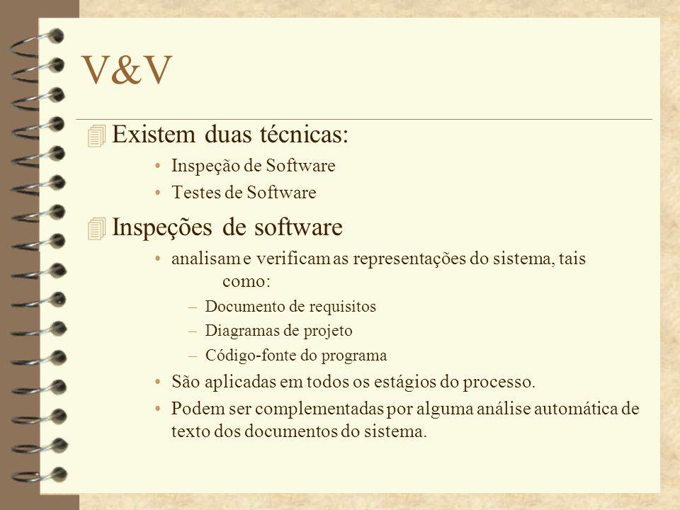V&V 4 Testes de software.Envolve: Executar uma implementação do software com os dados de teste.
