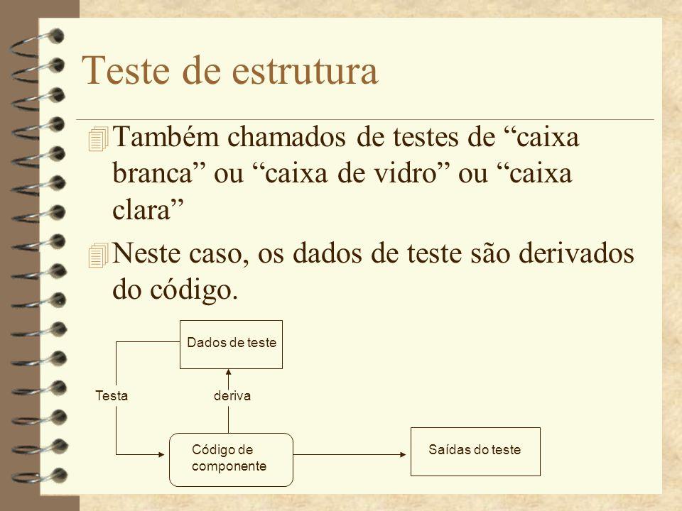 Testes de Caminho 4 É um caso de teste de estrutura, onde cada caminho de execução independente é testado.