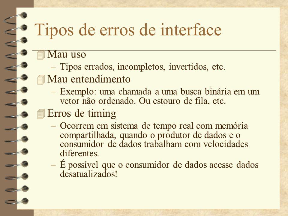 Diretrizes para testes de interface 4 Testar os valores dos parâmetros em seus extremos.
