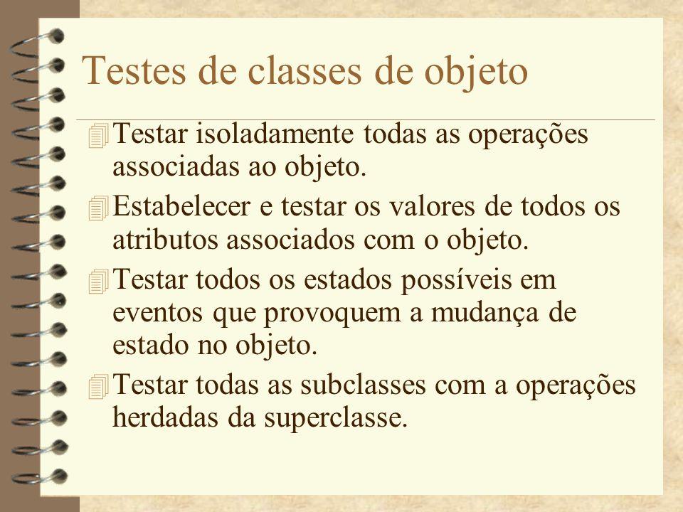 Integração de objetos 4 Testes de cluster (bottom-up e top-down não são indicados).
