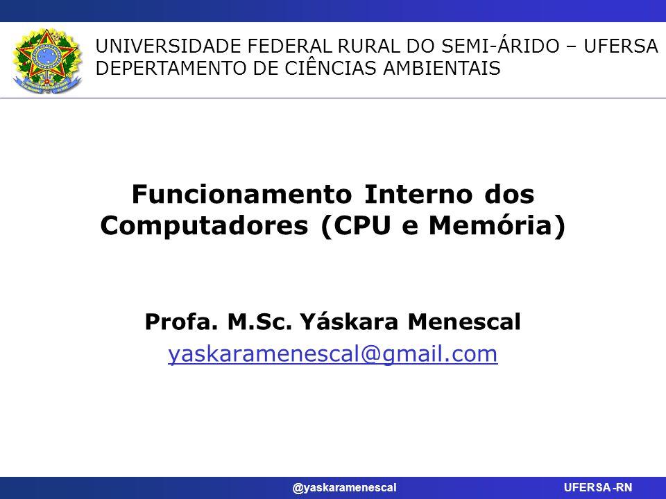 @yaskaramenescal UFERSA -RN Objetivos Identificar os componentes da unidade central de processamento e explicar como eles funcionam em conjunto e como interagem com a memória.