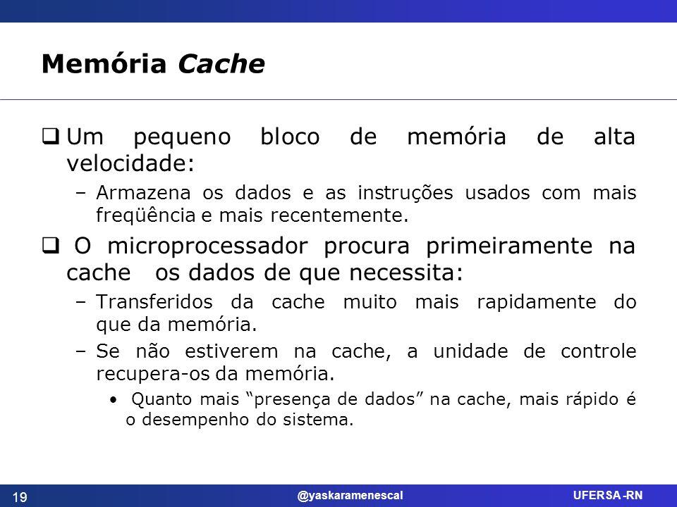 @yaskaramenescal UFERSA -RN Memória Cache Um pequeno bloco de memória de alta velocidade: –Armazena os dados e as instruções usados com mais freqüênci