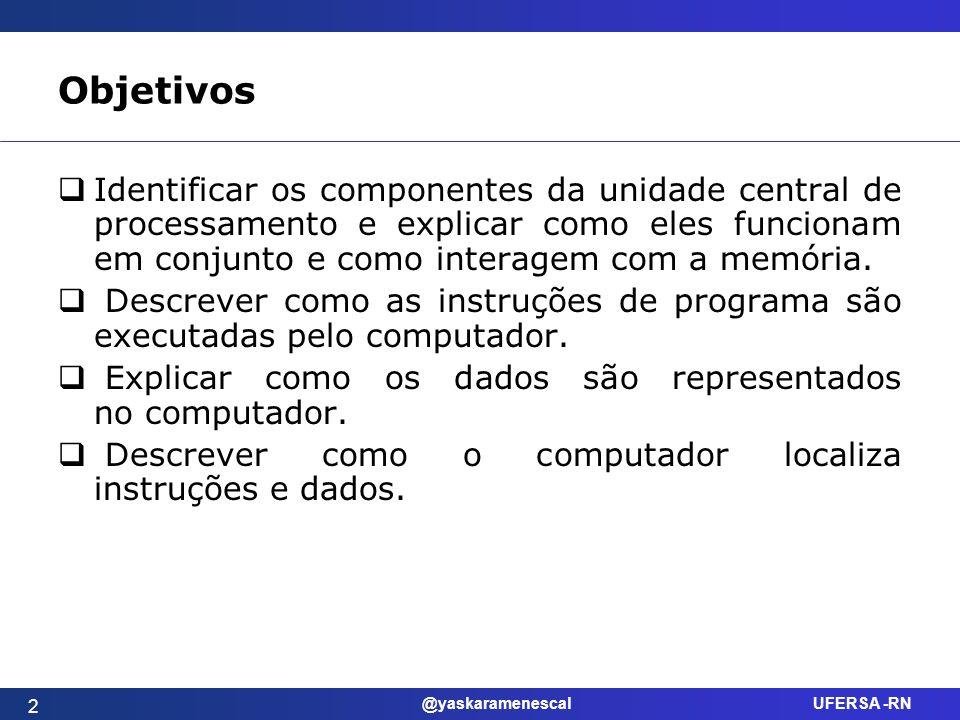 @yaskaramenescal UFERSA -RN Objetivos Identificar os componentes da unidade central de processamento e explicar como eles funcionam em conjunto e como