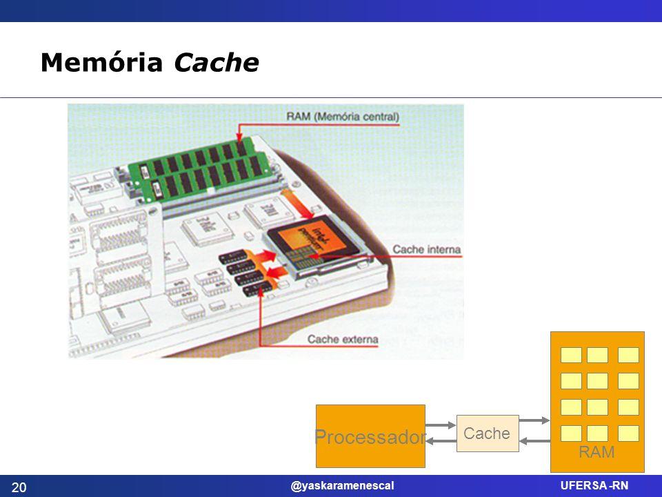 @yaskaramenescal UFERSA -RN Memória Cache Processador Cache RAM 20