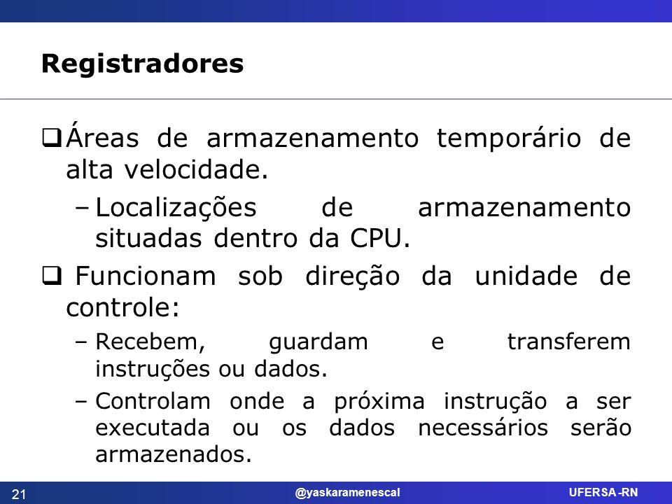 @yaskaramenescal UFERSA -RN Registradores Áreas de armazenamento temporário de alta velocidade. –Localizações de armazenamento situadas dentro da CPU.