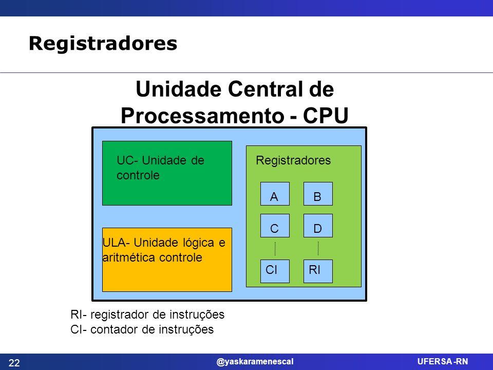 @yaskaramenescal UFERSA -RN Registradores UC- Unidade de controle ULA- Unidade lógica e aritmética controle Registradores AB CD CIRI Unidade Central d