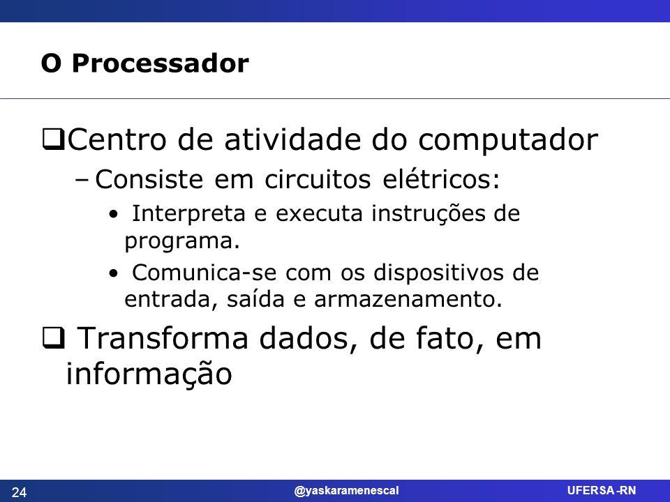 @yaskaramenescal UFERSA -RN O Processador Centro de atividade do computador –Consiste em circuitos elétricos: Interpreta e executa instruções de progr