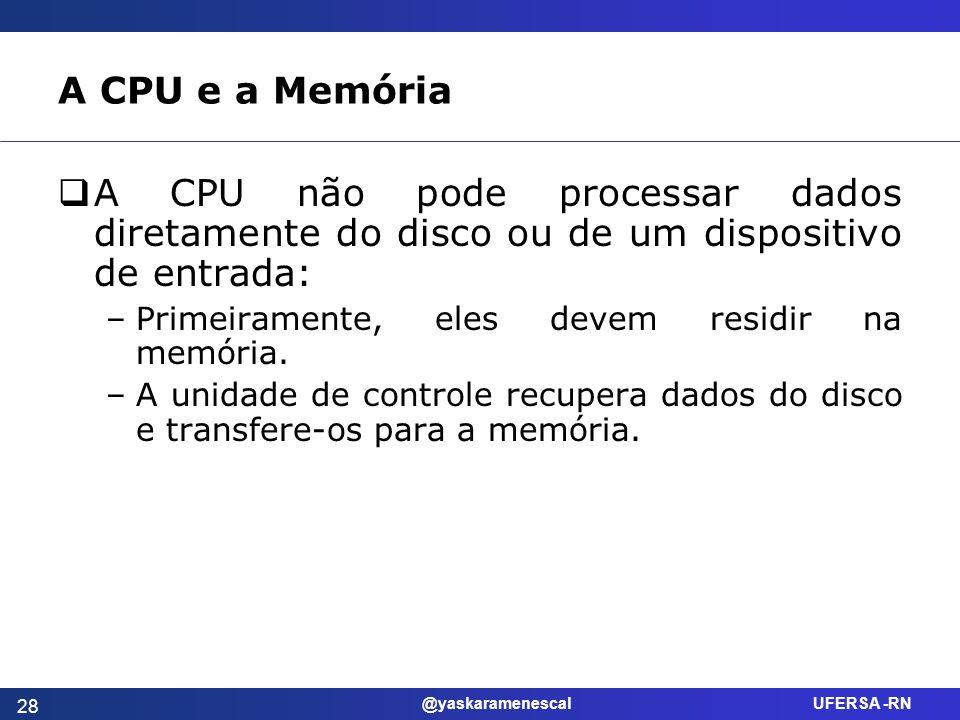 @yaskaramenescal UFERSA -RN A CPU e a Memória A CPU não pode processar dados diretamente do disco ou de um dispositivo de entrada: –Primeiramente, ele