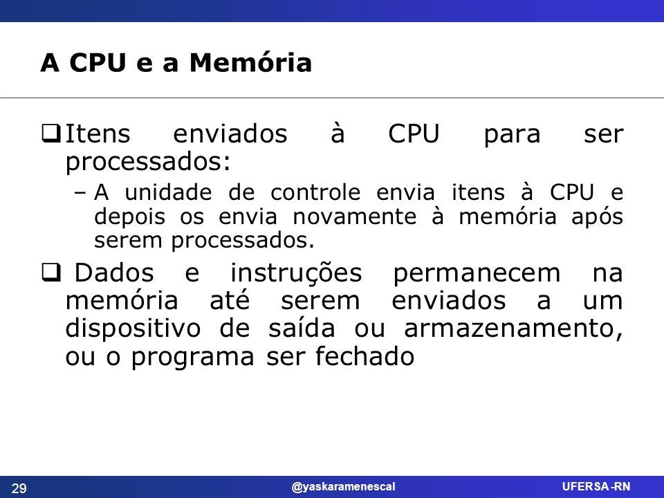 @yaskaramenescal UFERSA -RN A CPU e a Memória Itens enviados à CPU para ser processados: –A unidade de controle envia itens à CPU e depois os envia no