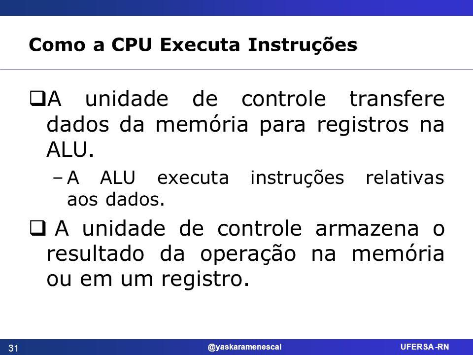 @yaskaramenescal UFERSA -RN Como a CPU Executa Instruções A unidade de controle transfere dados da memória para registros na ALU. –A ALU executa instr