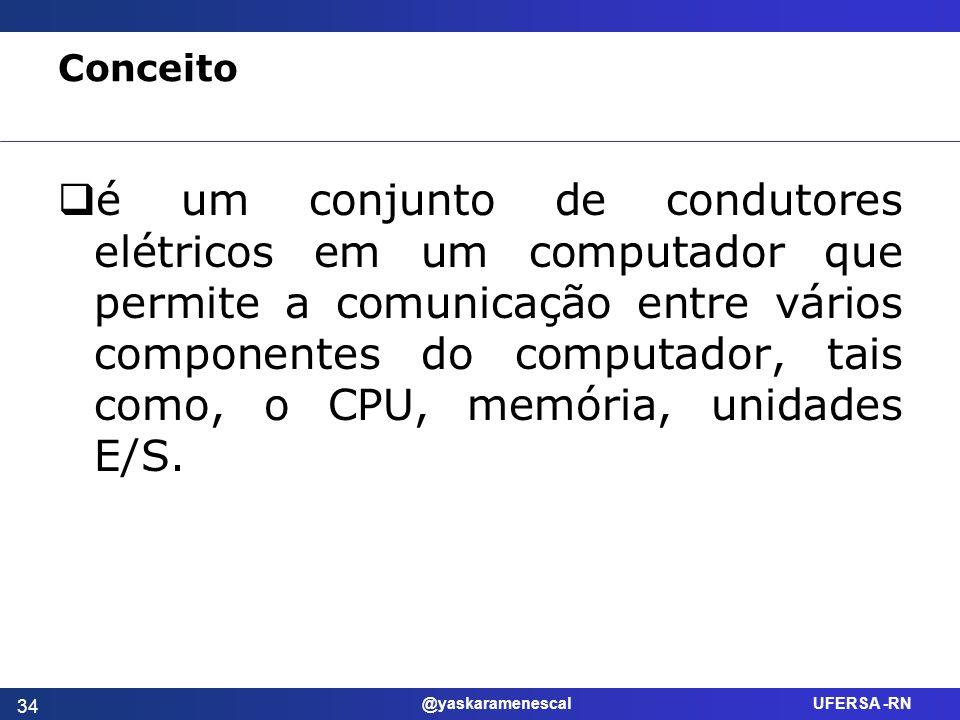 @yaskaramenescal UFERSA -RN Conceito é um conjunto de condutores elétricos em um computador que permite a comunicação entre vários componentes do comp