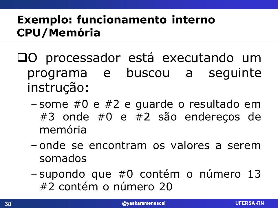 @yaskaramenescal UFERSA -RN Exemplo: funcionamento interno CPU/Memória O processador está executando um programa e buscou a seguinte instrução: –some
