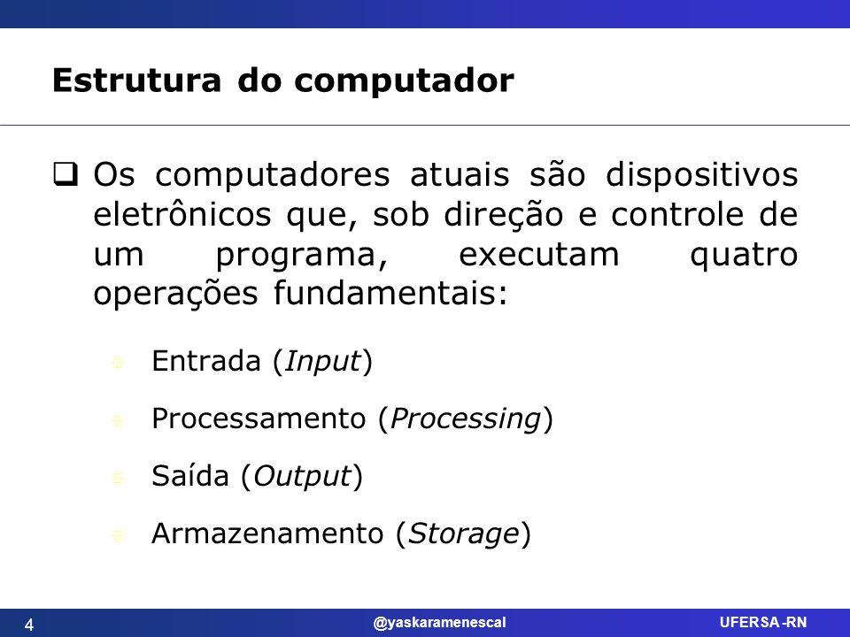 @yaskaramenescal UFERSA -RN Estrutura do computador 4 Os computadores atuais são dispositivos eletrônicos que, sob direção e controle de um programa,