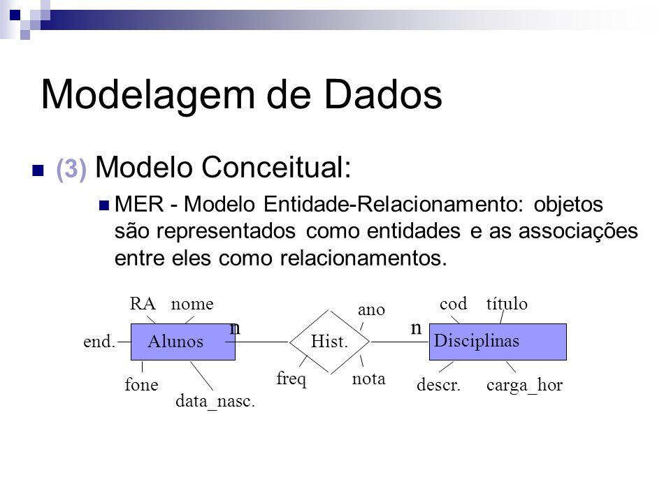 Modelagem de Dados (3) Modelo Conceitual: MER - Modelo Entidade-Relacionamento: objetos são representados como entidades e as associações entre eles c