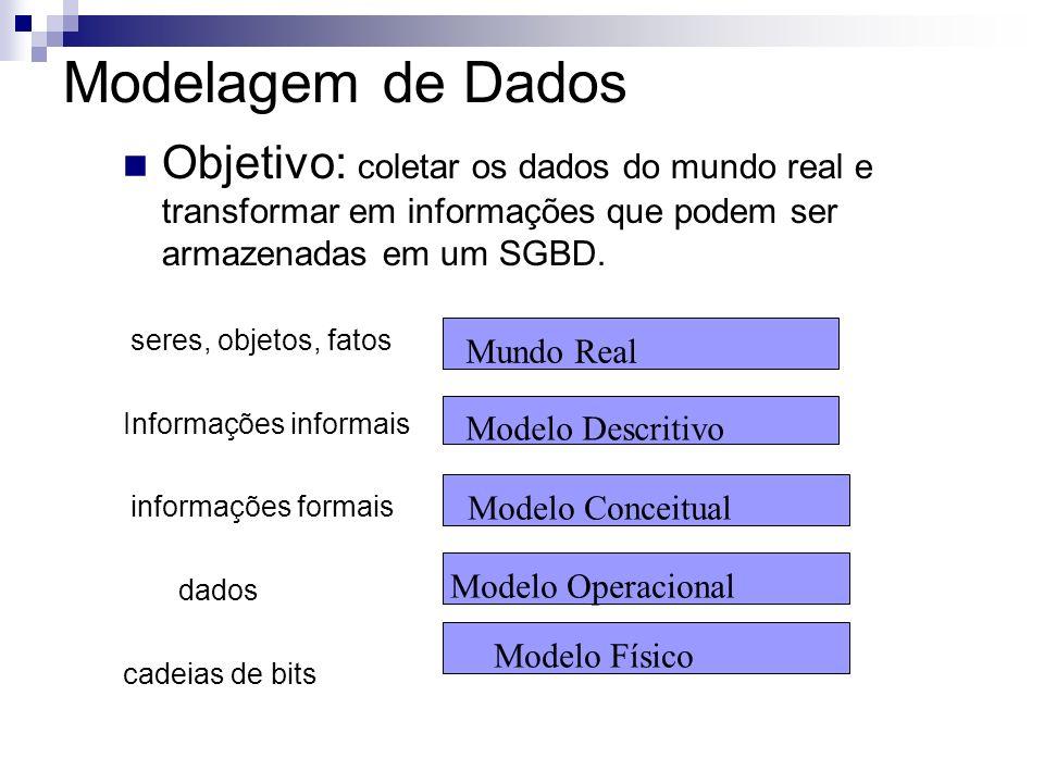 Modelagem de Dados Objetivo: coletar os dados do mundo real e transformar em informações que podem ser armazenadas em um SGBD. seres, objetos, fatos I