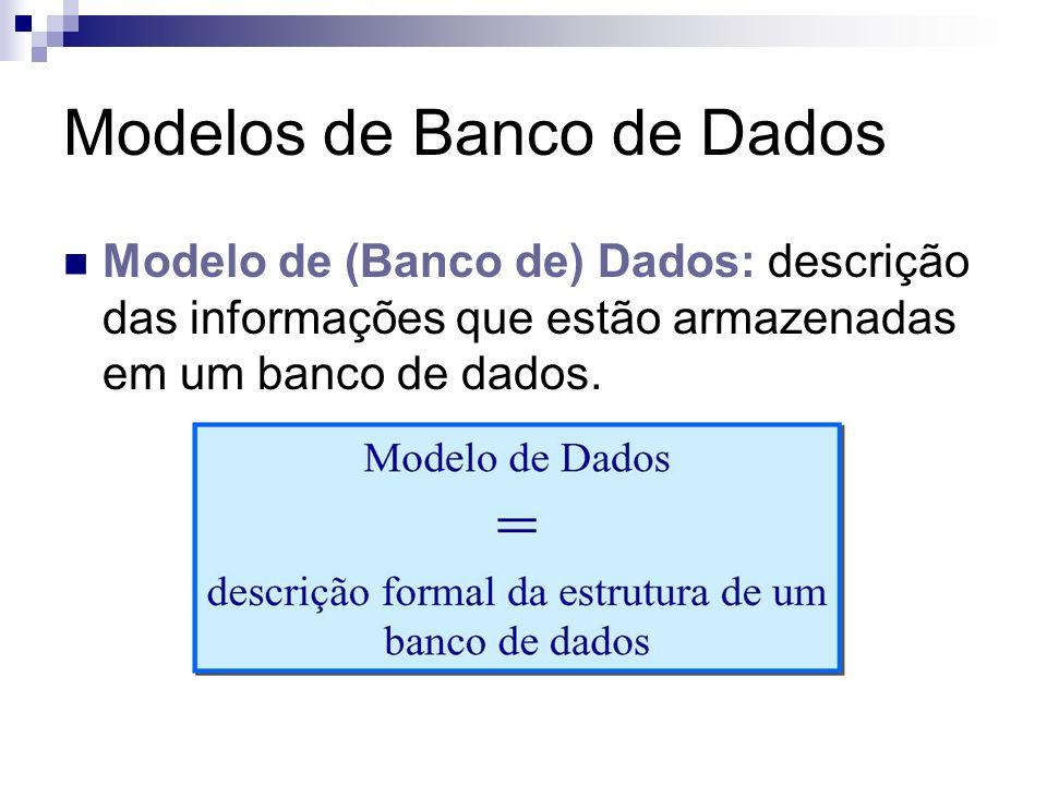 Modelos de Banco de Dados Modelo Conceitual: não contém detalhes sobre a representação em meio físico das informações; Modelo Lógico: descrição de como as informações estão organizadas internamente, visão do usuário do SGBD; e Modelo Físico: descreve os dados no nível mais baixo (interno); trata dos aspectos de implementação do SGBD.