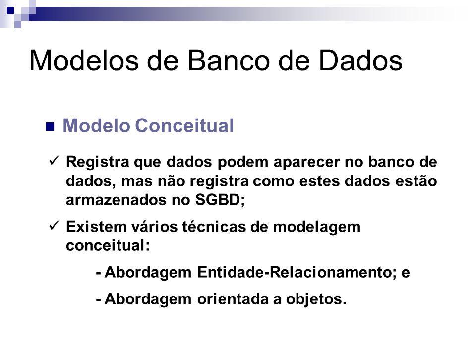Modelos de Banco de Dados Modelo Conceitual Registra que dados podem aparecer no banco de dados, mas não registra como estes dados estão armazenados n