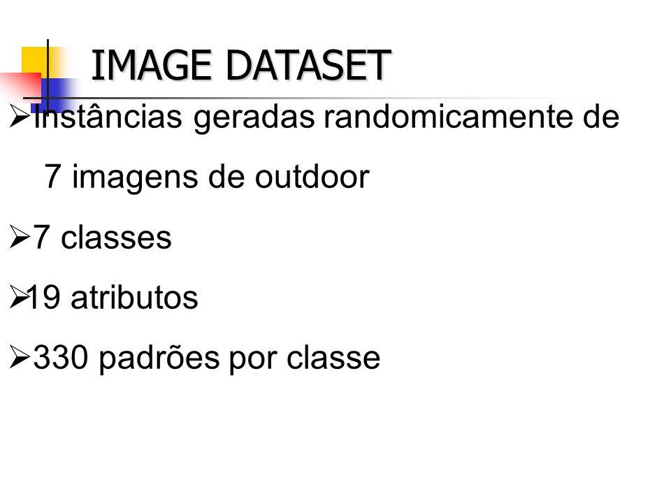 IMAGE DATASET Instâncias geradas randomicamente de 7 imagens de outdoor 7 classes 19 atributos 330 padrões por classe