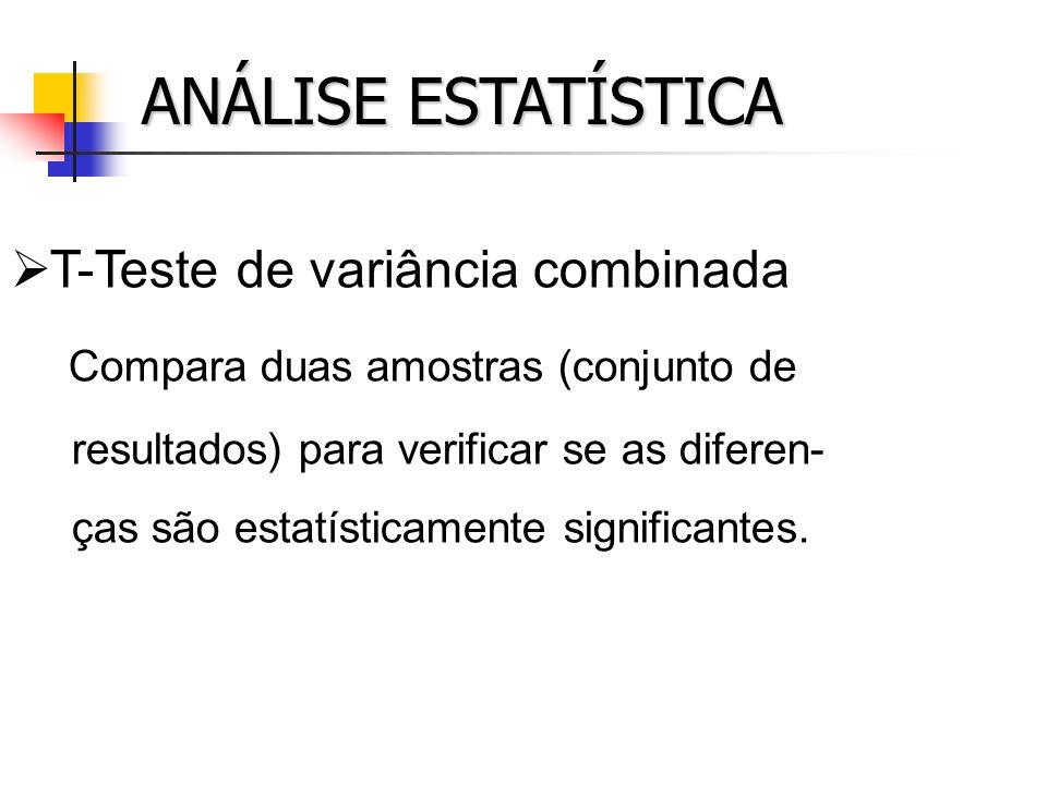 ANÁLISE ESTATÍSTICA T-Teste de variância combinada Compara duas amostras (conjunto de resultados) para verificar se as diferen- ças são estatísticamen