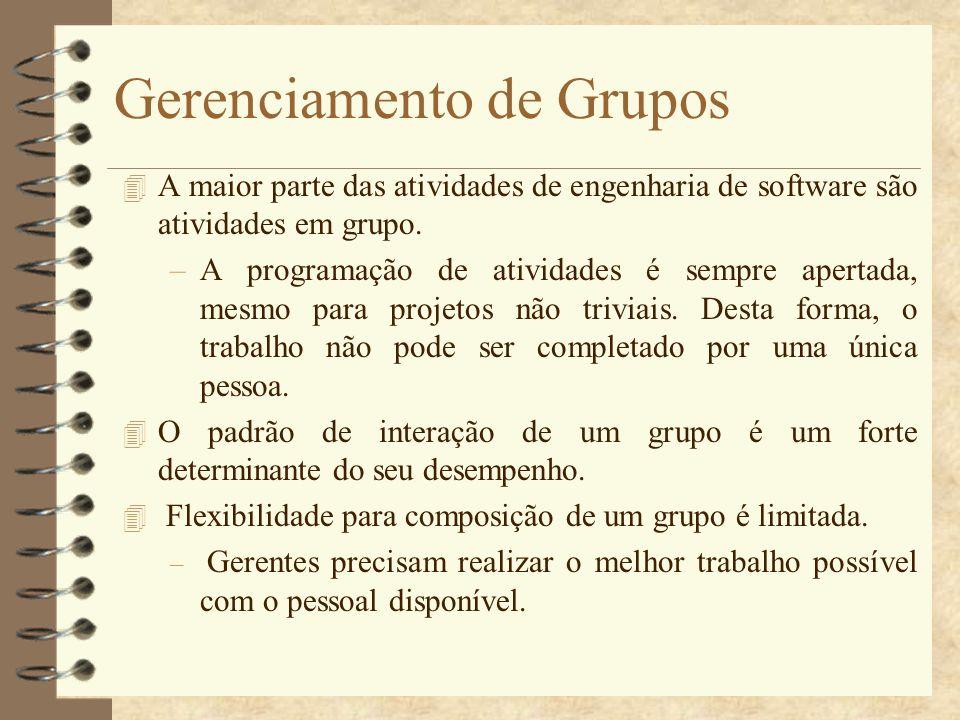 Gerenciamento de Grupos 4 A maior parte das atividades de engenharia de software são atividades em grupo. –A programação de atividades é sempre aperta