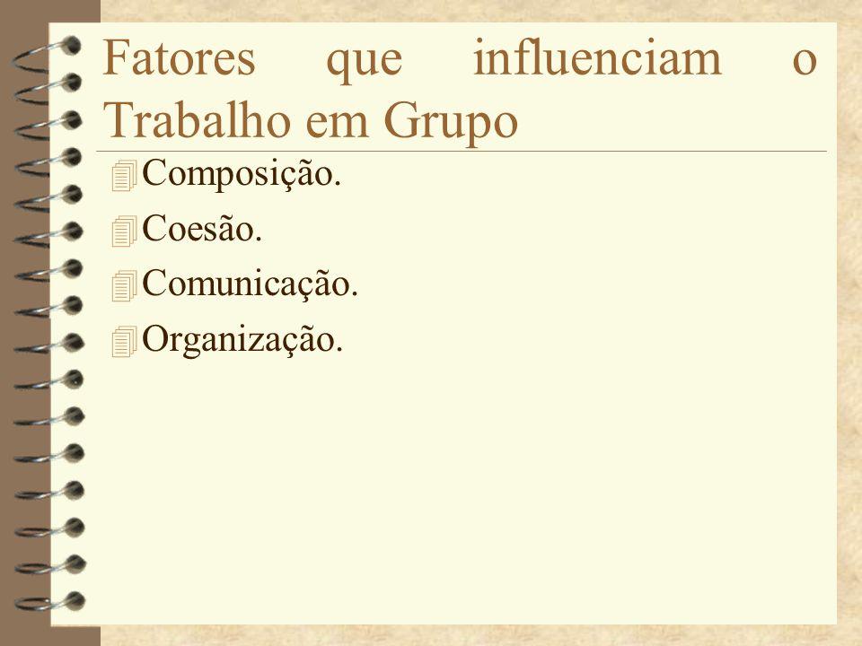 Fatores que influenciam o Trabalho em Grupo 4 Composição. 4 Coesão. 4 Comunicação. 4 Organização.
