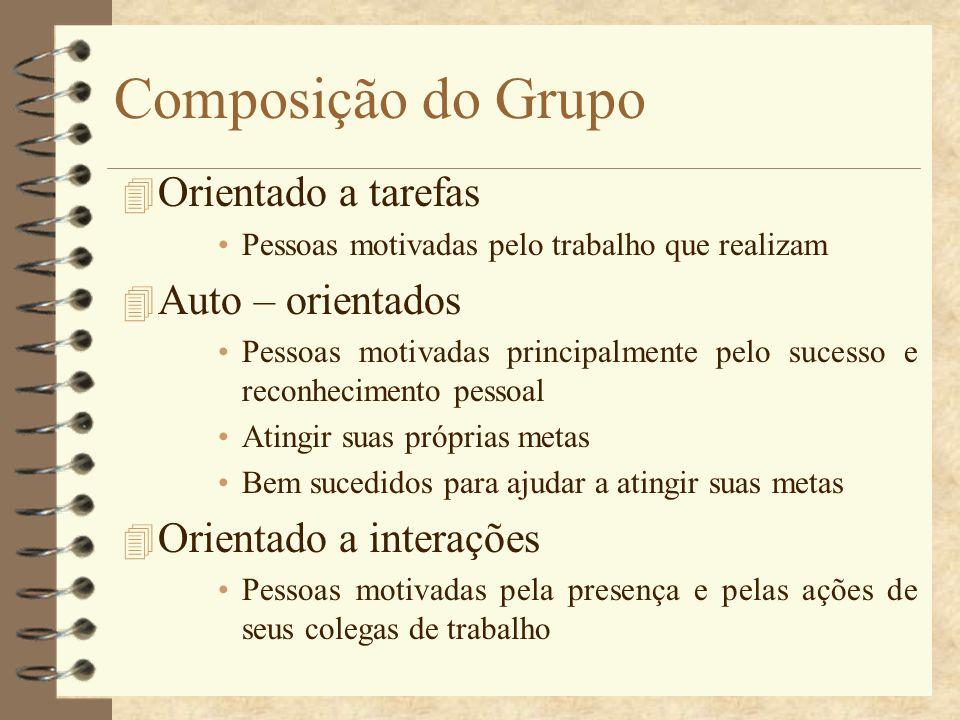 Composição do Grupo 4 Orientado a tarefas Pessoas motivadas pelo trabalho que realizam 4 Auto – orientados Pessoas motivadas principalmente pelo suces