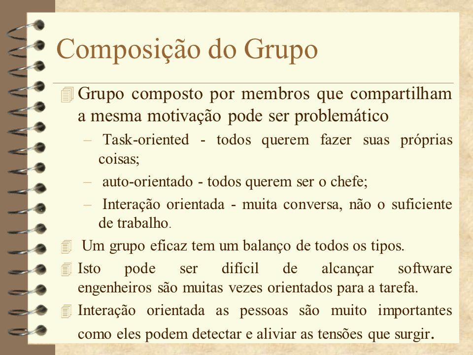 Composição do Grupo 4 Grupo composto por membros que compartilham a mesma motivação pode ser problemático – Task-oriented - todos querem fazer suas pr