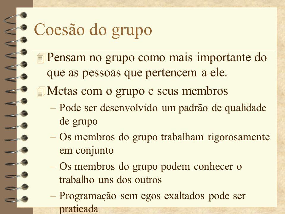Coesão do grupo 4 Pensam no grupo como mais importante do que as pessoas que pertencem a ele. 4 Metas com o grupo e seus membros –Pode ser desenvolvid