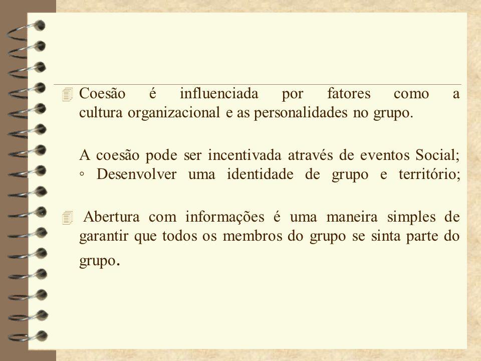 4 Coesão é influenciada por fatores como a cultura organizacional e as personalidades no grupo. A coesão pode ser incentivada através de eventos Socia