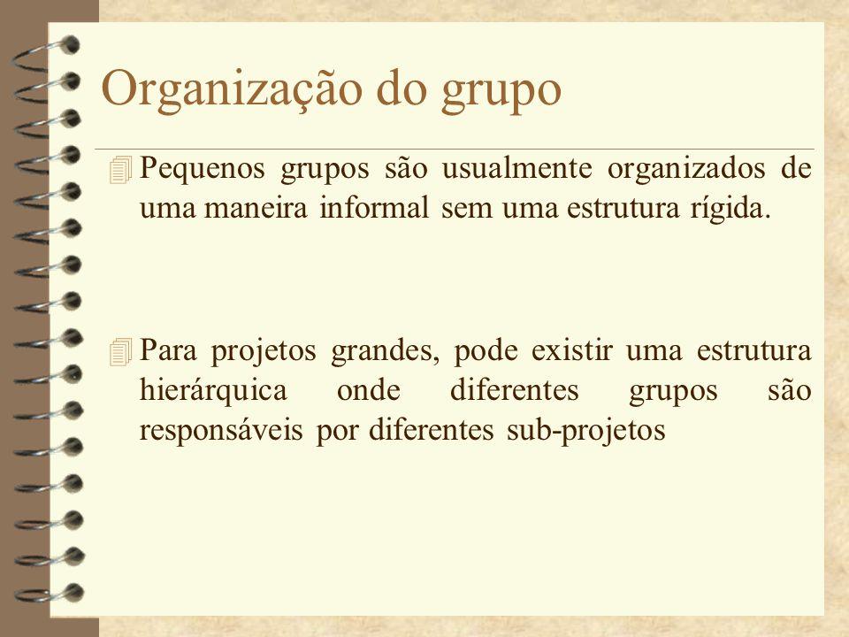 Organização do grupo 4 Pequenos grupos são usualmente organizados de uma maneira informal sem uma estrutura rígida. 4 Para projetos grandes, pode exis