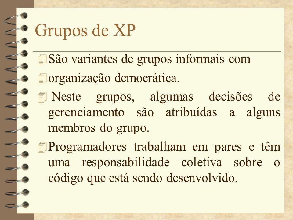 Grupos de XP 4 São variantes de grupos informais com 4 organização democrática. 4 Neste grupos, algumas decisões de gerenciamento são atribuídas a alg