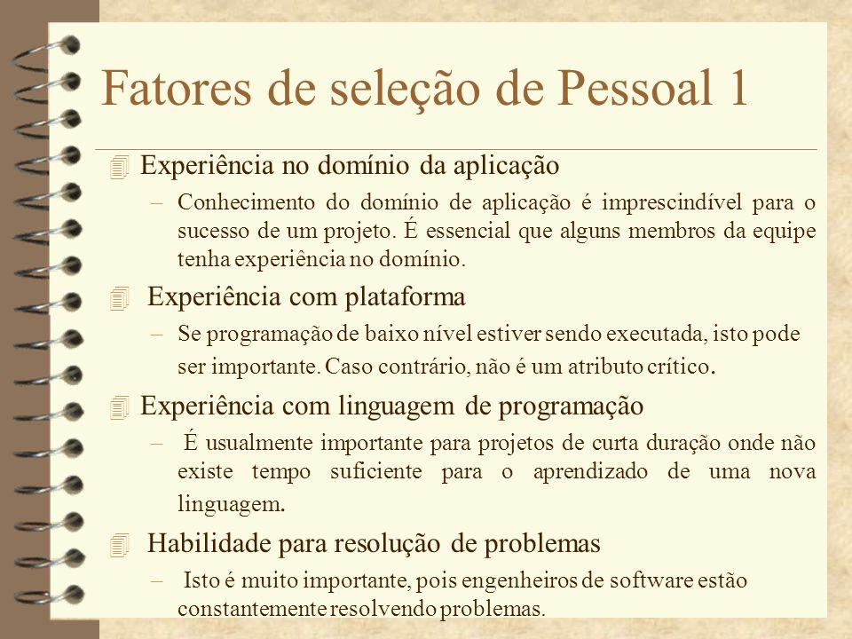 Fatores de seleção de Pessoal 1 4 Experiência no domínio da aplicação –Conhecimento do domínio de aplicação é imprescindível para o sucesso de um proj