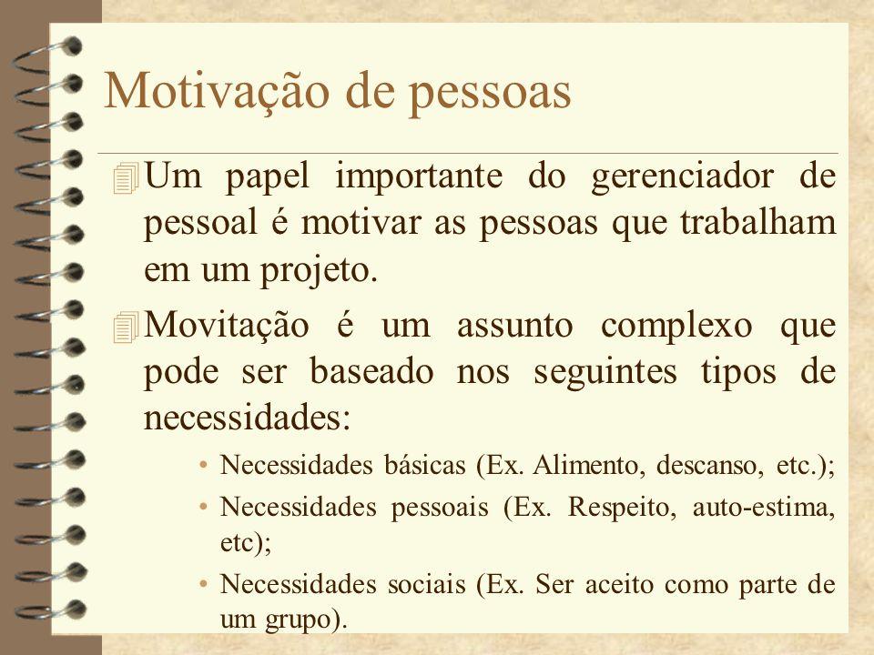 Motivação de pessoas 4 Um papel importante do gerenciador de pessoal é motivar as pessoas que trabalham em um projeto. 4 Movitação é um assunto comple