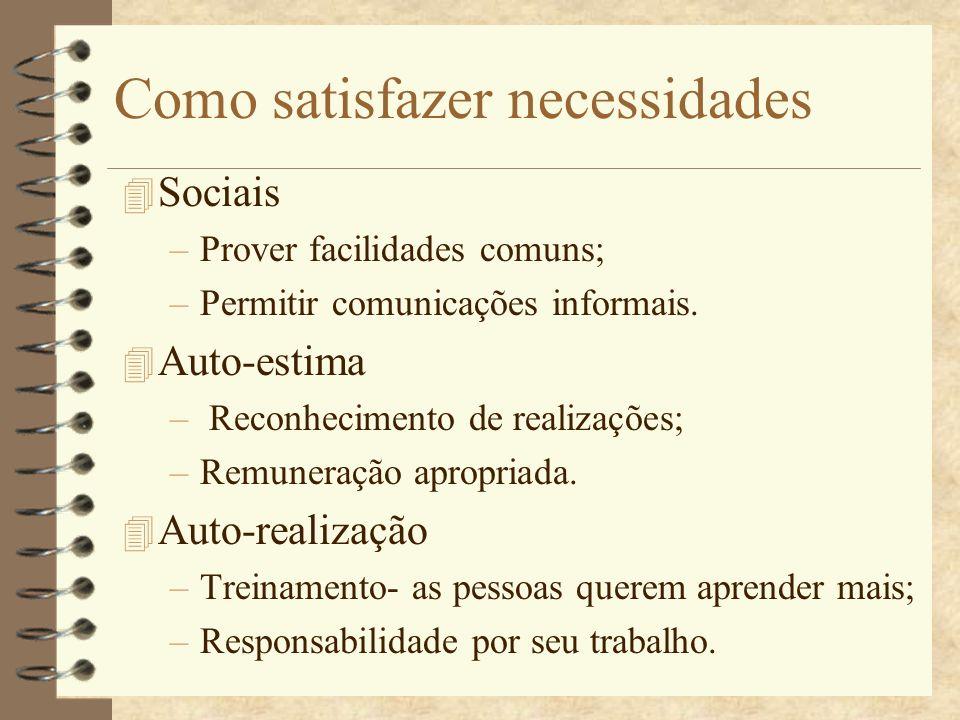 Como satisfazer necessidades 4 Sociais –Prover facilidades comuns; –Permitir comunicações informais. 4 Auto-estima – Reconhecimento de realizações; –R