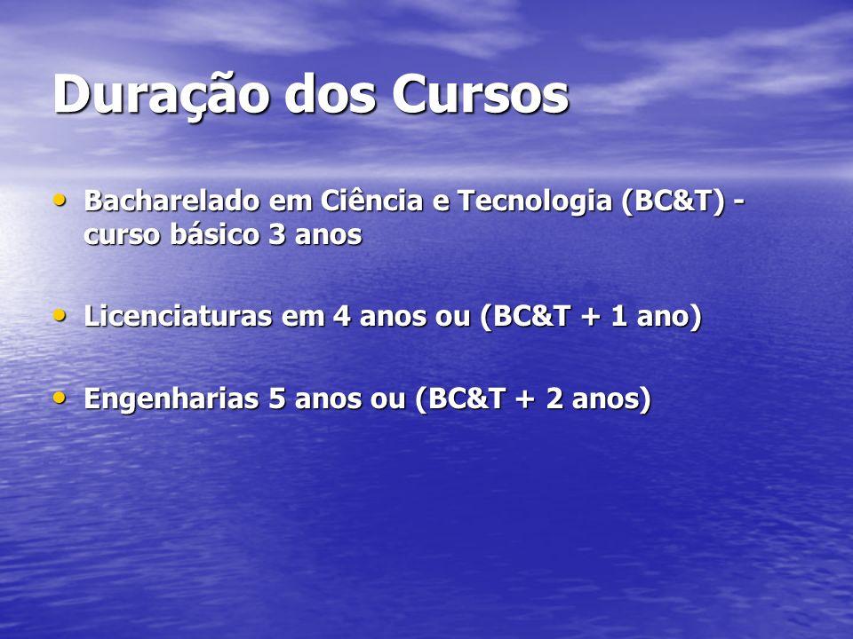 Duração dos Cursos Bacharelado em Ciência e Tecnologia (BC&T) - curso básico 3 anos Bacharelado em Ciência e Tecnologia (BC&T) - curso básico 3 anos Licenciaturas em 4 anos ou (BC&T + 1 ano) Licenciaturas em 4 anos ou (BC&T + 1 ano) Engenharias 5 anos ou (BC&T + 2 anos) Engenharias 5 anos ou (BC&T + 2 anos)