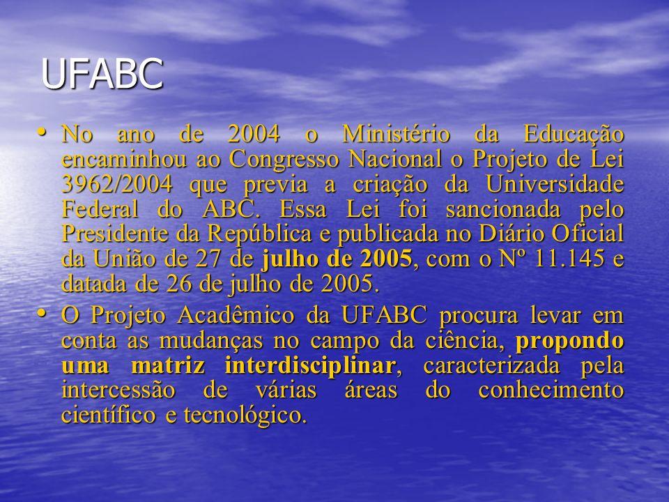 UFABC No ano de 2004 o Ministério da Educação encaminhou ao Congresso Nacional o Projeto de Lei 3962/2004 que previa a criação da Universidade Federal do ABC.
