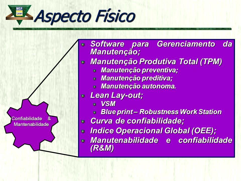 Aspecto Físico Software para Gerenciamento da Manutenção; Manutenção Produtiva Total (TPM) Manutenção preventiva; Manutenção preditiva; Manutenção aut