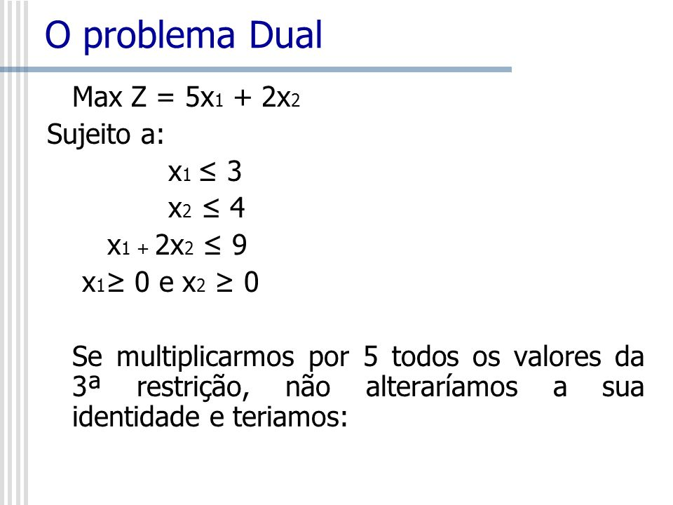 O problema Dual Max Z = 5x 1 + 2x 2 Sujeito a: x 1 3 x 2 4 x 1 + 2x 2 9 x 1 0 e x 2 0 Se multiplicarmos por 5 todos os valores da 3ª restrição, não al