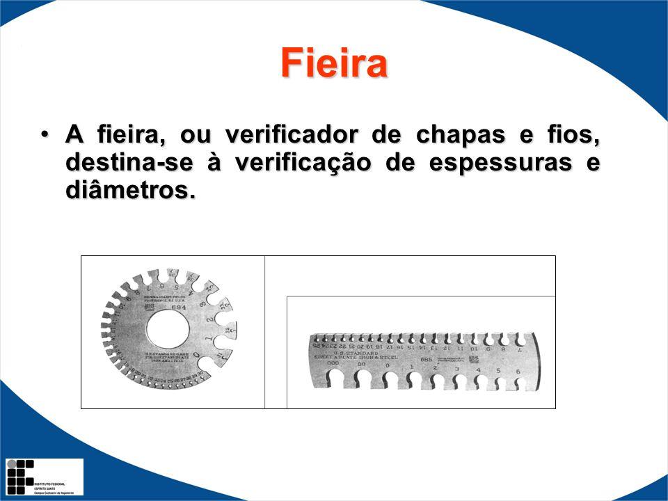 Fieira A fieira, ou verificador de chapas e fios, destina-se à verificação de espessuras e diâmetros.A fieira, ou verificador de chapas e fios, destin