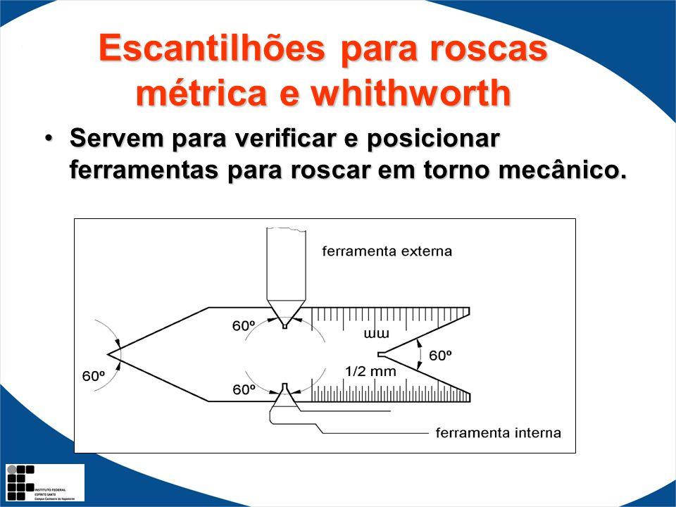 Escantilhões para roscas métrica e whithworth Servem para verificar e posicionar ferramentas para roscar em torno mecânico.Servem para verificar e pos