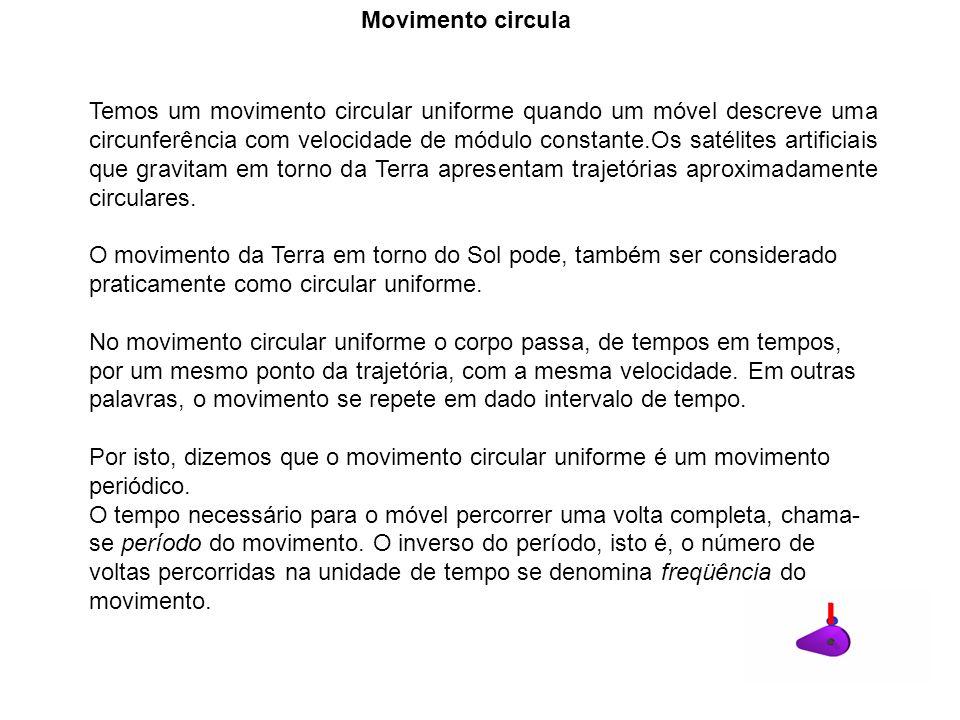 Temos um movimento circular uniforme quando um móvel descreve uma circunferência com velocidade de módulo constante.Os satélites artificiais que gravi